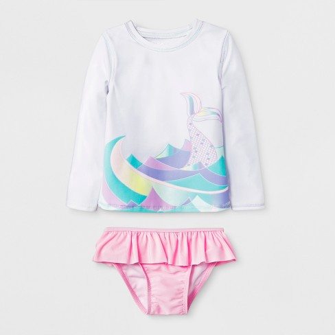 ee71208f8ed13 Toddler Girls' Mermaid Tail Rash Guard Set - Cat & Jack™ White : Target