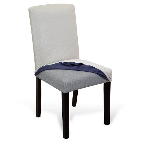 Dining Parsons Chair Short Skirt Reversible Stretch Suede Slipcover Graphite - Serta - image 1 of 11