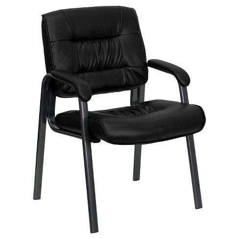 Executive Side Chair Titanium Frame/Black Leather - Flash Furniture - image 1 of 4