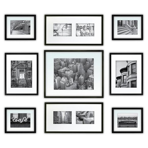 Gallery Perfect 9 Piece Multi-Size Wall Frame Set - Black : Target