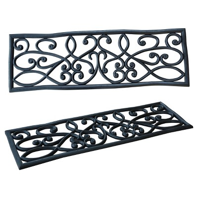 Outdoor Rubber Scrollwork Stair Tread 4pk   Black   AmeriHome : Target