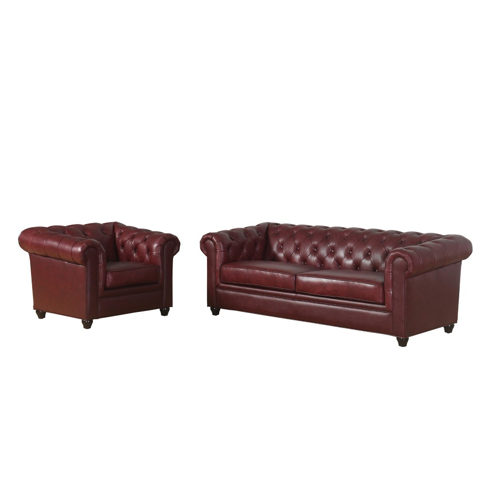 Image of 2pc Keswick Tufted Leather Sofa and Armchair Set Red - Abbyson Living
