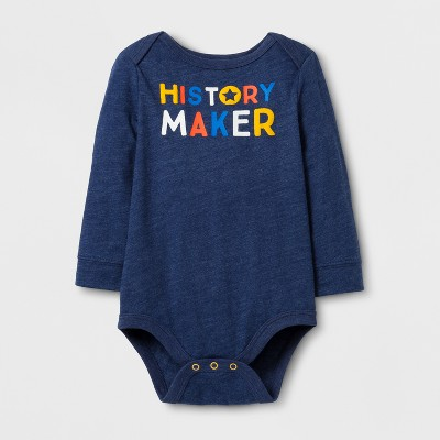 Baby Boys' Long Sleeve History Maker Bodysuit - Cat & Jack™ Nightfall Blue Newborn