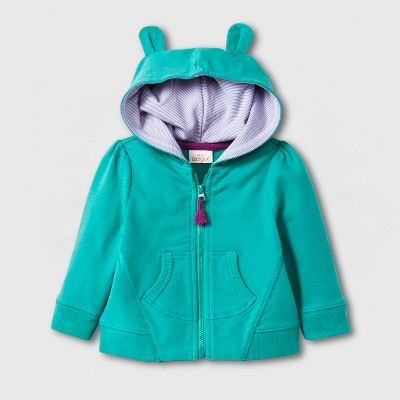Baby Girls' French Terry Critter Hooded Sweatshirt with Kangaroo Pocket - Cat & Jack™ Green 0-3M