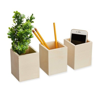 Genie Crafts 3-Pack Unfinished Wooden Pen and Pencil Holder Cups for Office Desk Organization and Diy Crafts, 3 X 3.5 inches