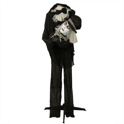 Northlight 5' Prelit LED Head-in-Hand Animated Groom Halloween Decoration - Black/White