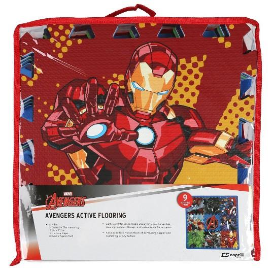 Marvel Avengers 9pc Floor Tile Foam Interlocking Fitness Mats image number null