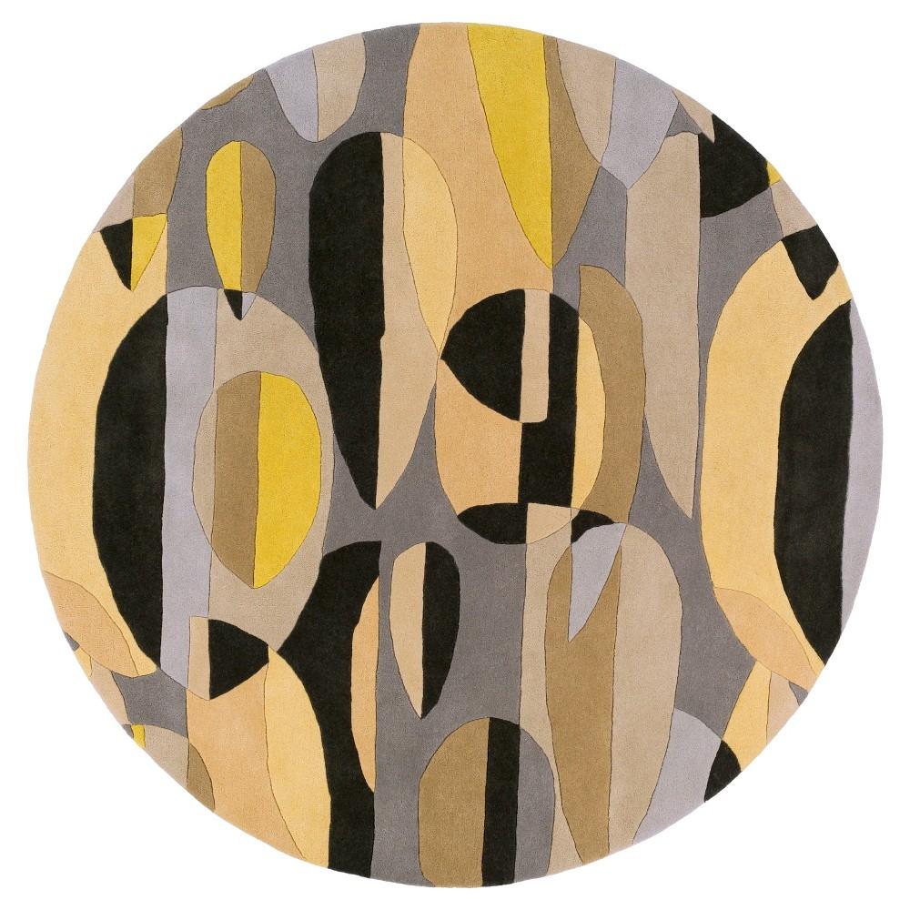 Menduad Area Rug - Black, Tan - (8' Round) - Surya