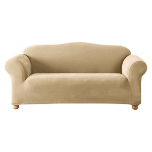 Cream Stretch Pique Slipcover Loveseat - Sure Fit, Ivory