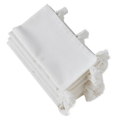 "20"" White Napkin with White Tassels Set of 4 pc - SARO Lifestyle"