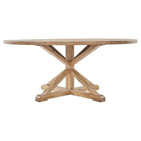 Sierra Round Farmhouse Pedestal Base Wood Dining Table 72 Vintage Pine Inspire Q Target