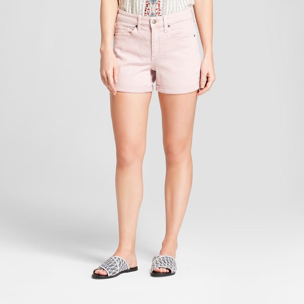 Women's High-Rise Cuffed Hem Midi Jean Shorts - Universal Thread Pink 0