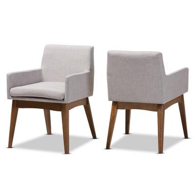 Set of 2 Nexus Mid Century Modern Walnut Wood Fabric Upholstered Dining Armchair - Baxton Studio