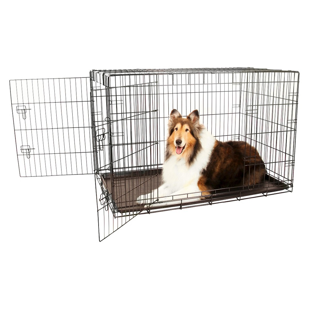 Carlson Compact and Secure Double Metal Door Dog Cage - XL - Black