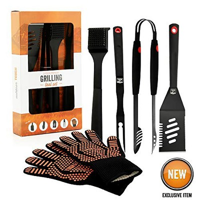 Yukon Glory Signature Edition 5 Piece Grilling Tools Set, Matte-Black Durable Stainless Steel BBQ Accessories, Includes Set of BBQ Gloves.