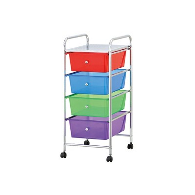 Mind Reader Storage Trolley Rolling Cart with Removable Containers