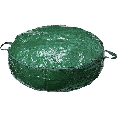 Homz 30 Inch Diameter Seasonal Holiday Organizer Christmas Wreath Polyester Woven Fabric Zippered Storage Bag Container, Green