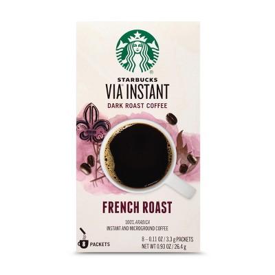 Starbucks VIA Instant Coffee Dark Roast Packets — French Roast — 1 box (8 packets)