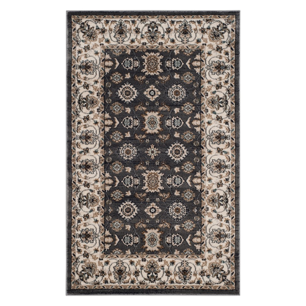 33X53 Floral Loomed Accent Rug Gray/Cream - Safavieh Coupons