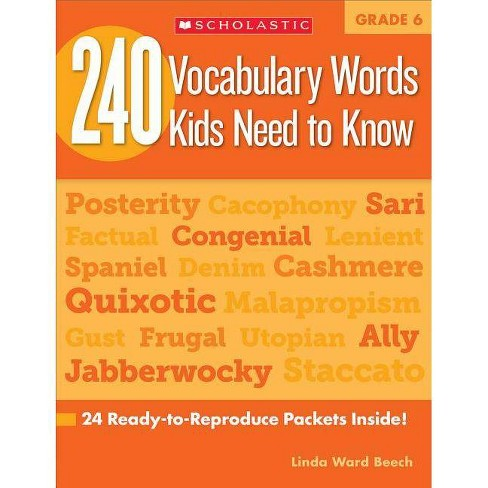240 Vocabulary Words Kids Need to Know: Grade 6 - by  Linda Beech (Paperback) - image 1 of 1