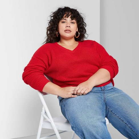 Women's Plus Size V-Neck Cropped Sweater - Wild Fable™ Red Pop  - image 1 of 3
