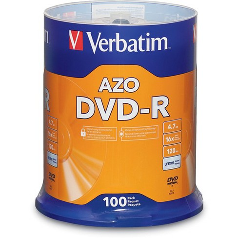 Verbatim AZO DVD-R 4.7GB 16X with Branded Surface - 100pk Spindle - DVD-R - 16x - 4.70 GB - 100pk Spindle - image 1 of 2