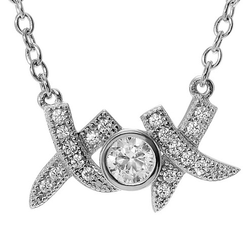 "1/4 CT. T.W. Round-cut CZ Bezel Set XOX Pendant Necklace in Sterling Silver - Silver (16"") - image 1 of 2"