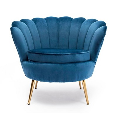 Upholstered Scalloped Back Accent Barrel Chair - Kinwell