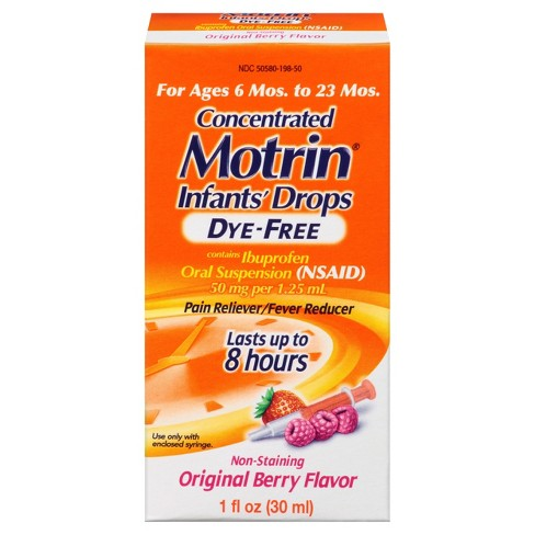 Infants' Motrin Dye-Free Pain Reliever/Fever Reducer Liquid Drops - Ibuprofen (NSAID) - Berry - 1 fl oz - image 1 of 5