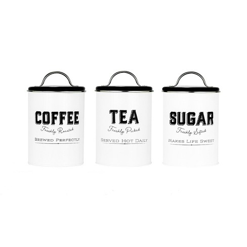 Amici Home Country Cottage Metal Canisters, Assorted Set of 3 (Coffee, Tea, Sugar) - image 1 of 4