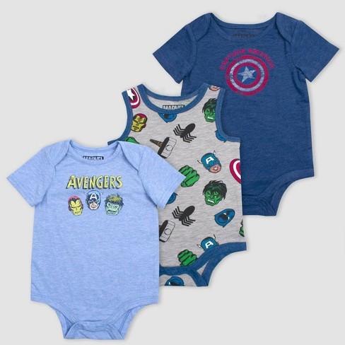 Baby Boys' 3pk Avengers Bodysuits - Blue - image 1 of 1