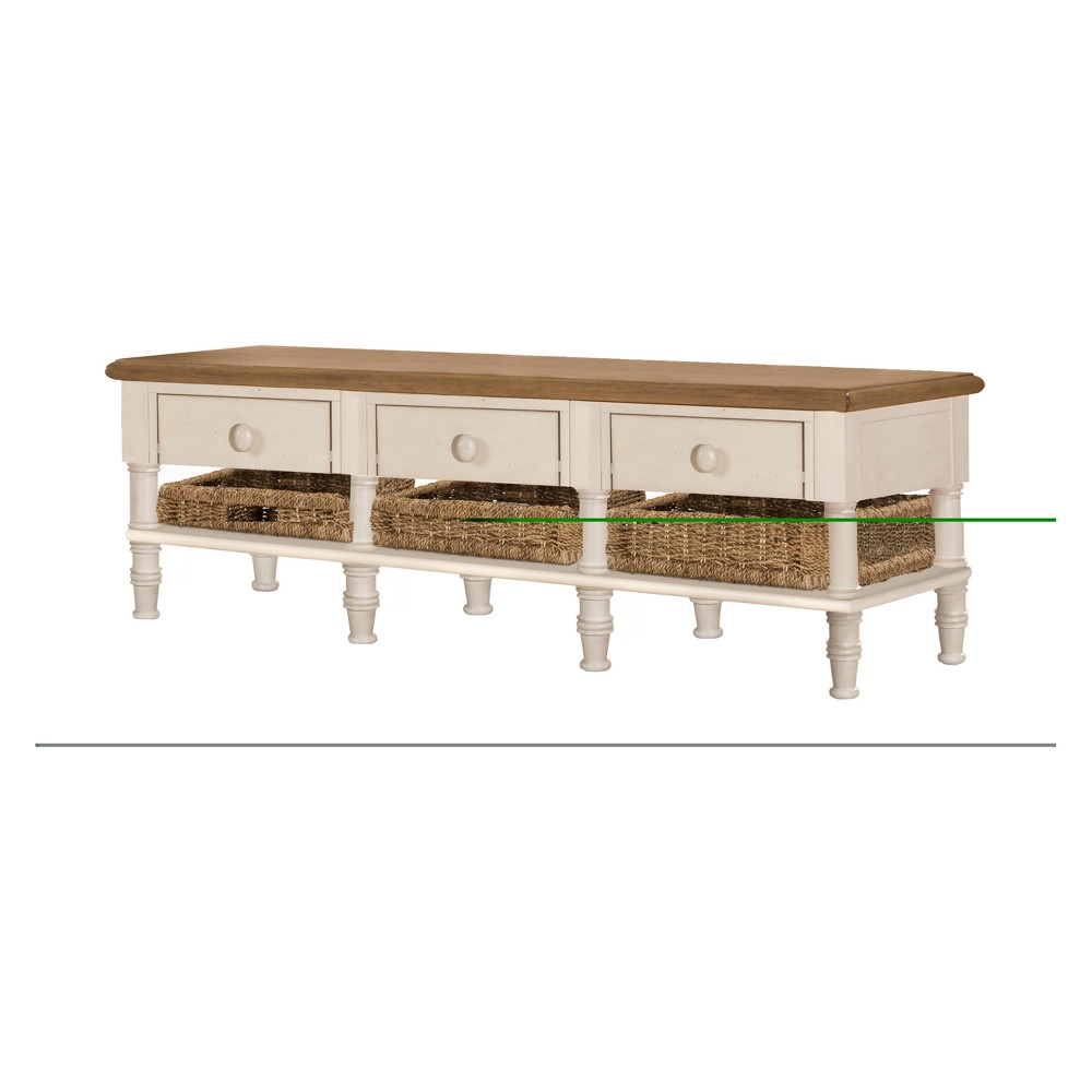 Seneca Sofa Table With Three Drawers Six Baskets Included Wood Driftwood Top/Sea White Base/Natural Seagrass - Hillsdale Furniture