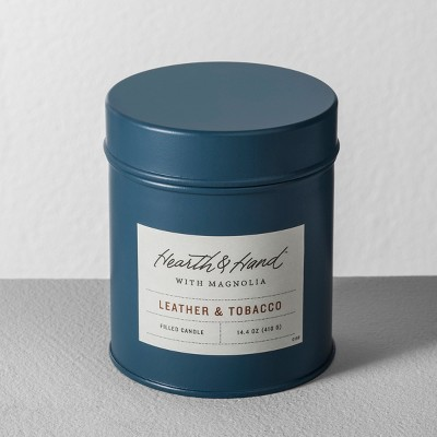 Tin Candle Leather Tobacco - Hearth & Hand™ with Magnolia