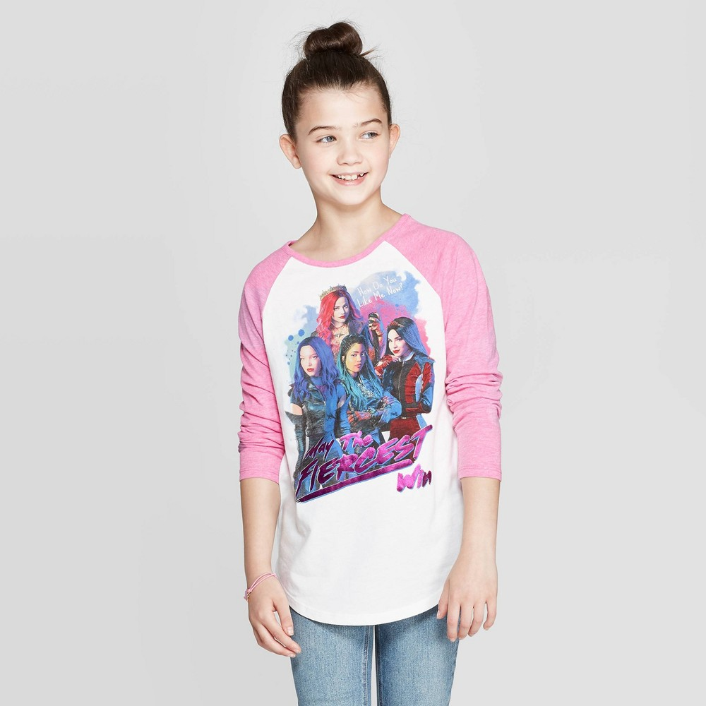 Image of Girls' Descendants Group Long Sleeve Raglan T-Shirt - White L, Girl's, Size: Large