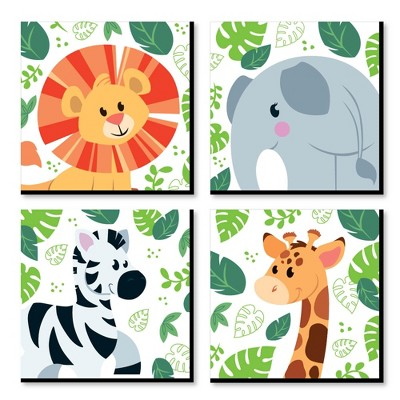 Big Dot of Happiness Jungle Party Animals - Safari Animal Kids Room, Nursery & Home Decor - 11 x 11 inches Wall Art - Set of 4 Prints for baby's room