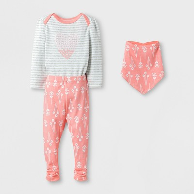 Baby Girls' 3pc Heart Bodysuit, Pants and Bib Set Cloud Island™ - Coral/Heather Gray 0-3M