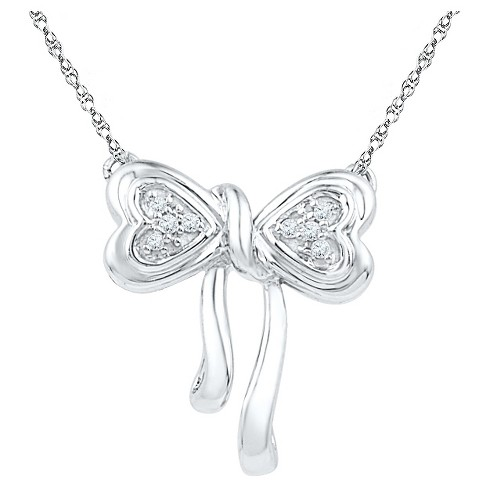 "Diamond Accent Round White Diamond Prong Set Bow Necklace in Sterling Silver (18"" IJ-I2-I3) - image 1 of 1"