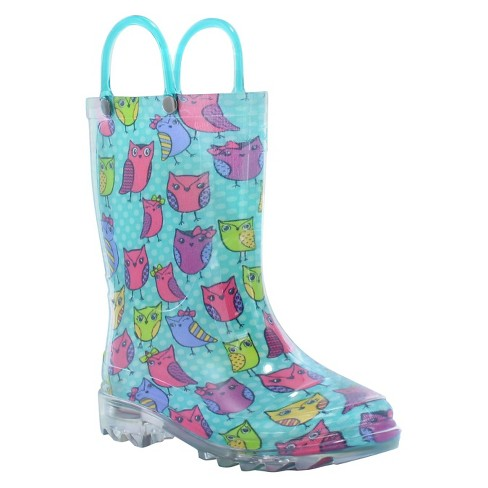 Toddler Girl Owl Woods Lighted Rain Boot Turquoise - Western Chief - image 1 of 3