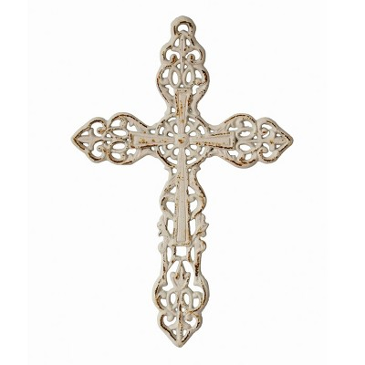 """13"""" x 8.6"""" Decorative Distressed Cast Iron Wall Cross Worn White - Stonebriar Collection"""