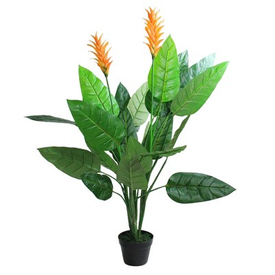 "Northlight 50"" Green and Orange Artificial Bird of Paradise Plant in a Black Pot"