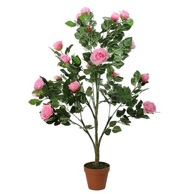 """Northlight 47"""" Potted Green and Pink Artificial Rose Garden Tree"""
