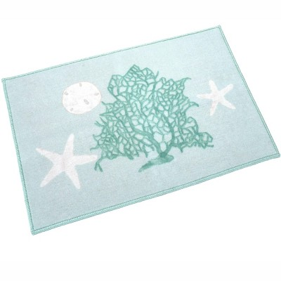 Lakeside Coastal Bathroom Rug with Starfish, Ocean Creatures