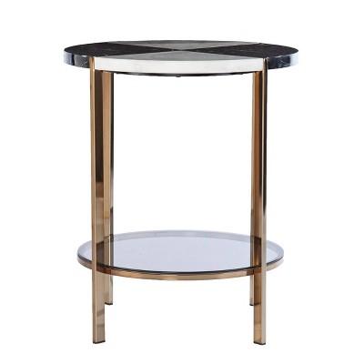Lenaedo Round Faux Marble End Table Black/White/Gold - Aiden Lane