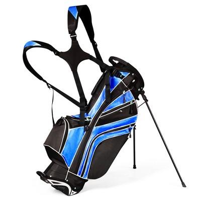 Costway Golf Stand Cart Bag Club w/6 Way Divider Carry Organizer Pockets Storage Blue