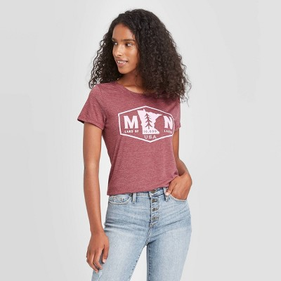 Women's Short Sleeve Minnesota Badge Graphic T-Shirt - Awake Burgundy