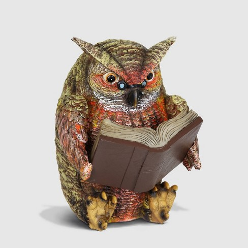 """7"""" Resin Solar Owl Reading Book Statue Brown - Exhart - image 1 of 2"""