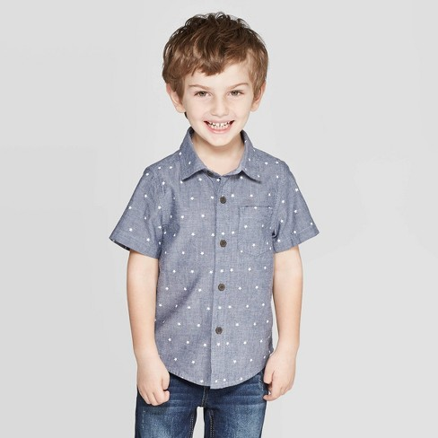Toddler Boys' Poplin Star Print Button-Down Shirt - Cat & Jack™ Blue - image 1 of 4