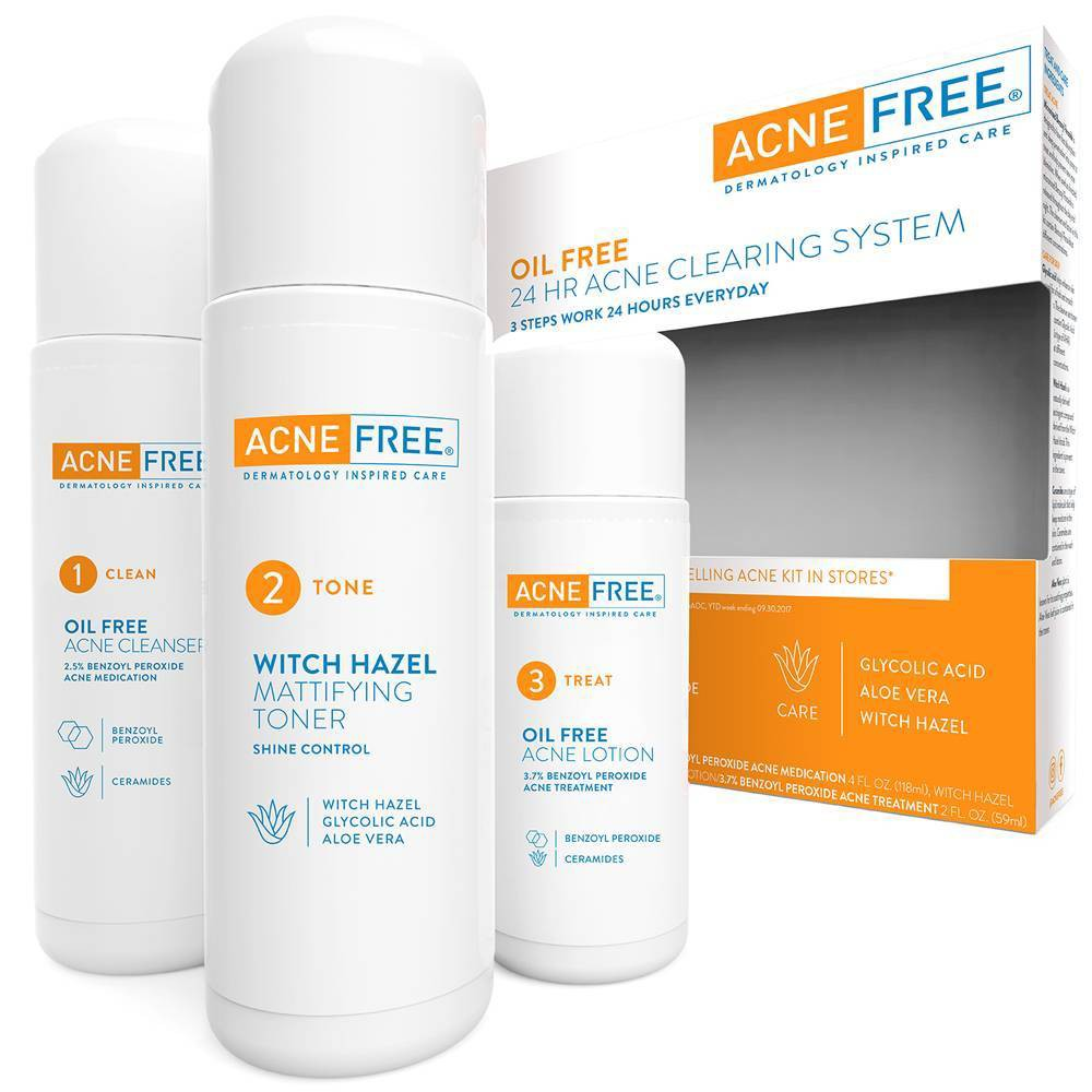 Image of AcneFree 3 Step 24 Hour Acne Treatment Kit with Oil Free Face Wash, Toner, and Repair Lotion - 3pc