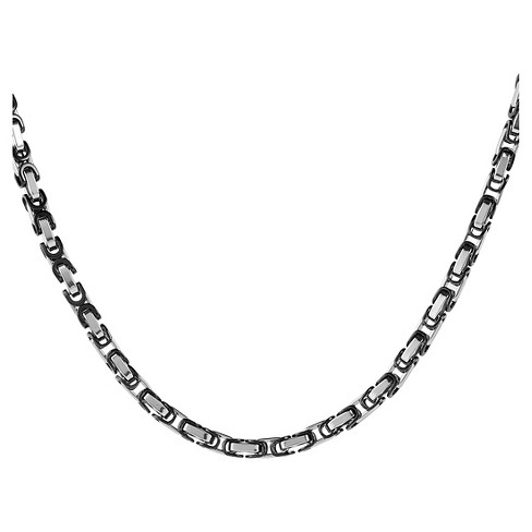 Men's West Coast Jewelry Silverplated and Blackplated Byzantine Chain Necklace - image 1 of 3
