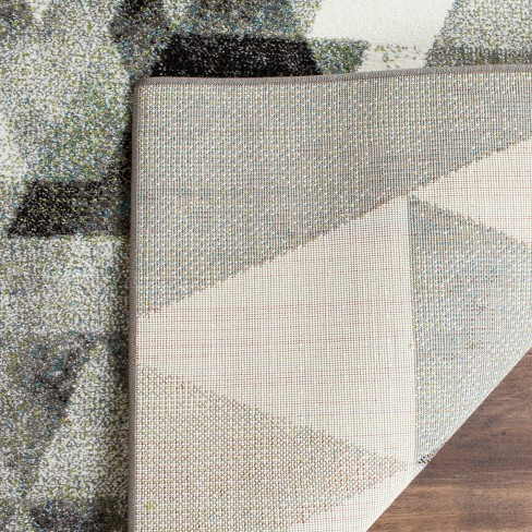 Gray/Blue Abstract Loomed Area Rug - (6